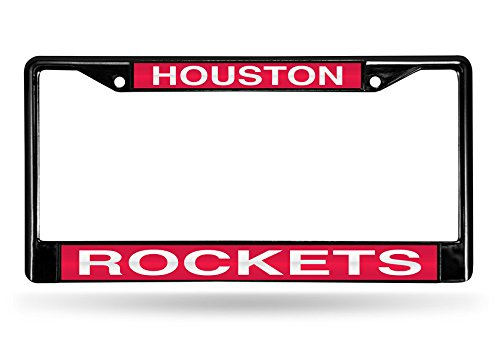 NBA Houston Rockets Laser Cut Inlaid Standard Chrome License Plate Frame, 6'' x 12.25'', Black by Rico