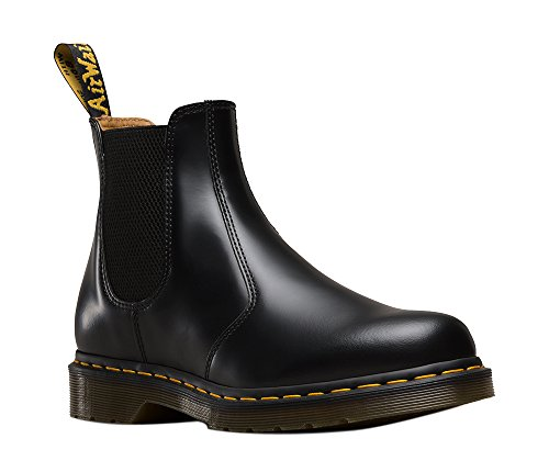 Price comparison product image Dr. Martens Men's 2976 Yellow Stitch Smooth Chelsea Boots, Black Leather, 12 M UK, 13 M US