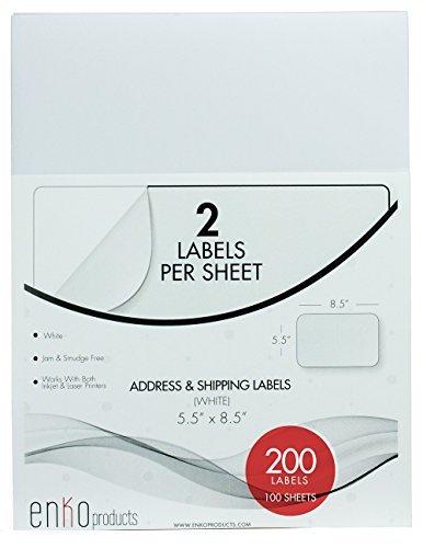 enKo [100 Sheets; 200 Labels] - 5-1 2 x 8-1 2