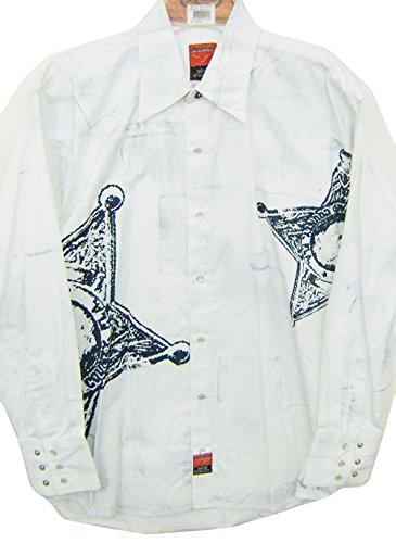 Modestone Men's Long Sleeve Western Hemd Sheriff Star White