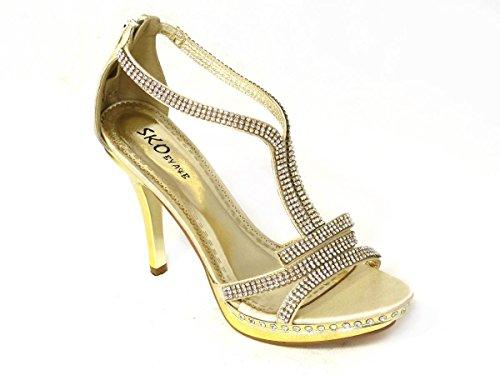 Womens Mesdames Diamante Soirée Talon Haut Chaussures de mariage mariée soirée sandales différents Designs Taille 345678 Gold (800-2) uGoFLSE9q
