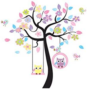 Colorful Removable DIY Paper Swing Owl Tree Wall Decal Tree Branch Leaves Wall Sticker