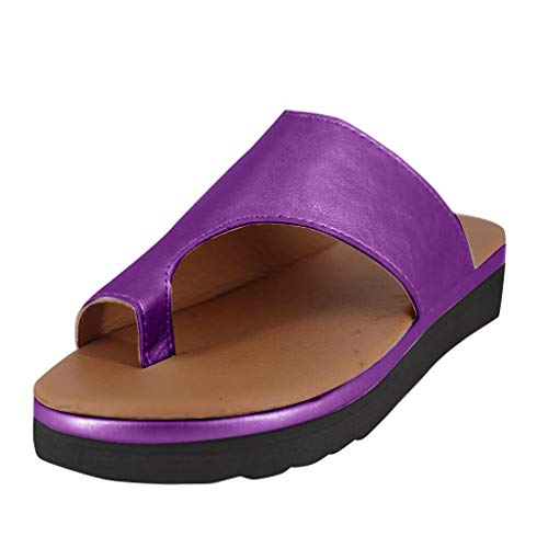 Nuewofally Women's Shoes Wedges Toe Thick Bottom Flip Flop Solid Color Beach Footwear Sandals Purple
