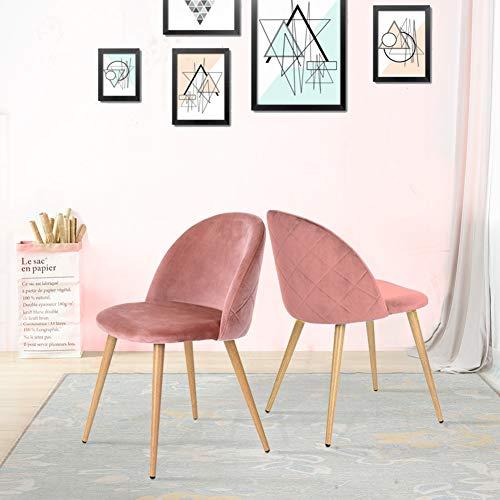 CLIPOP Juego de 2 sillas de Comedor tapizadas de Terciopelo con Respaldo y Patas de Transferencia de Metal para sillas de Comedor, salon y Dormitorio, Tela de Terciopelo, Rosa, 46 × 46 ×77 cm