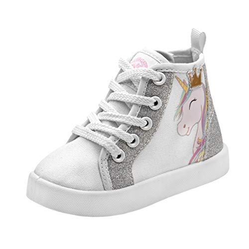 Beverly Hills Polo Club Girls High Top Sneaker, White Unicorn, 5 M US Toddler']()