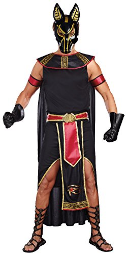 Dreamgirl Men's Anubis God Of The Underworld Costume, Black/Red, Large - Egyptian Gods Costume