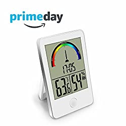 Dr. Prepare Digital Hygrometer Indoor/Outdoor Thermometer and Temperature Humidity Monitor Gauge with Clock for Reptiles, Incubator, Home, Office, Greenhouse, and Basement