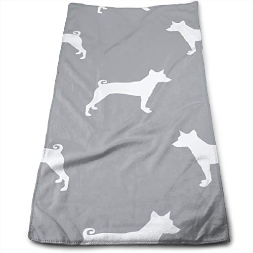 (Basenji Silhouette Dog Hand Towels Dishcloth Floral Linen Hand Towels Super Soft Extra Absorbent for Bath,Spa and Gym 11.8