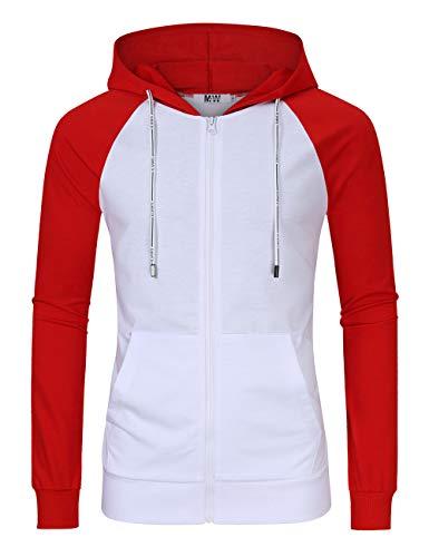 MrWonder Men's Casual Fit Long Sleeve Lightweight Zip Up Pullover Hoodie Sweatshirt with Kanga Pocket (2XL, New-White/Red) - Zipper Red
