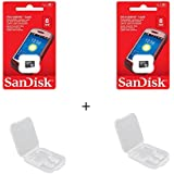 2 PACK - SanDisk 8GB MicroSDHC Memory Flash Card Class 4 Micro SD SDHC SDSDQM-008G Wholesale Lot + ( 2 Cases )