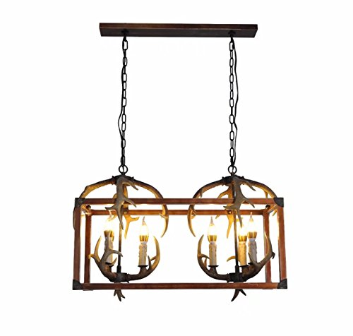 """EFFORTINC Resin Antler Chandeliers 6 Light 29.7"""" Diameter X 14.1"""" Tall with 4 Feet Matching Chain(Bulbs Not Included)"""
