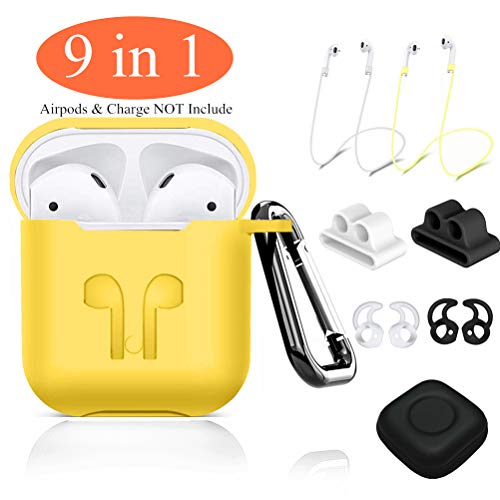 AirPods Case,9 in 1 Airpods Accessories Kits Protective Silicone Cover and Skin Compatible Apple Airpods Watch Band Holder/Ear Hook/Anti-Lost Stap/Clip/Keychain/Grip -Yellow