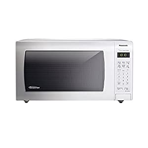 Microwave Oven Compact Countertop Panasonic Electric White 1250 Watt 1.6 cu. ft. Inverter Cookware With Free Pot Holders