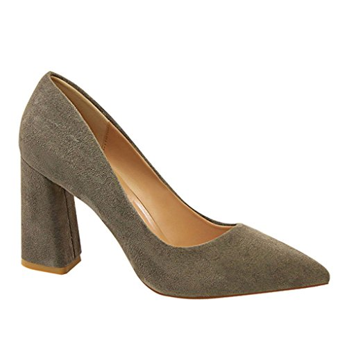Genepeg Womens Sandals Suede Solid Colors Pump Slip On High Heels Chunky Heel Shoes