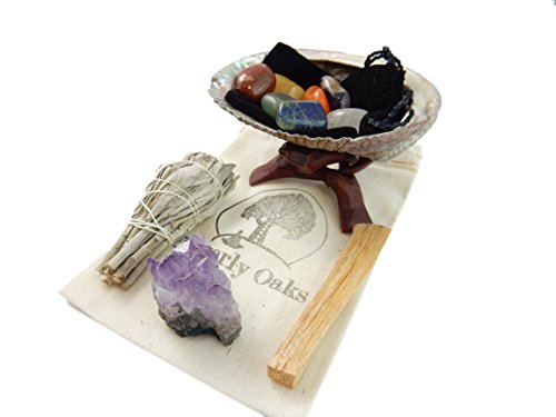 Healing Smudging Kit ~ 7 Chakra Stones with Abalone Shell, California White Sage Smudge Stick, Palo Santo Sticks & Amethyst Crystal Gemstone, Cleansing Bohemian Reiki Metaphysical Spiritual