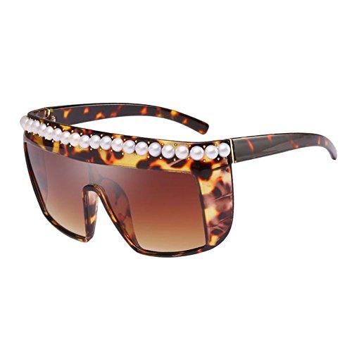 Estilo prueba de de viento sol Goggle Pearl Anti Rivet Oversized Leopardo a Gafas Marco Deylaying Marco grande Geométrico Decoración Polarizado cuadrado Leonado Gafas UV Lujo wnRH17qX