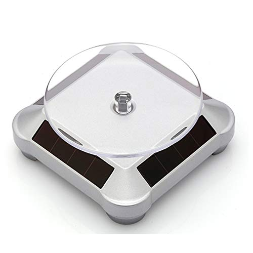 FUNGDO Solar Turntable 360°Rotating Stand for Better Curing UV Resin Printed Jewelry or Small Items Model from LCD/SLA/DLP 3D Printer Solar or AA Battery Power (Not Included) (Silver)