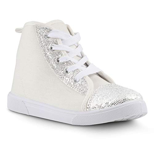 Chillipop Unisex Athletic Sneakers - Lightweight and Breathable Joggers White Glitter -