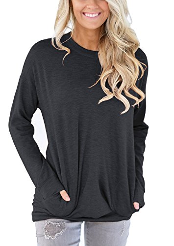 XUERRY Women Casual Batwing Long Sleeve Solid Crewneck Sweatshirt with Pockets Loose T Shirt Tunics Blouses Tops (Darkgrey,L) -