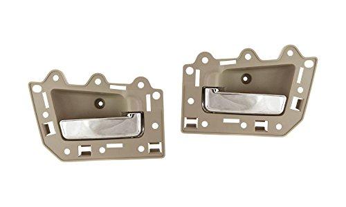 UPC 799422151895, Evan-Fischer EVA18772066698 New Direct Fit Interior Door Handles Set of 2 Rear Left and Right Side Plastic Beige bezel W/chrome lever for Jeep Grand Cherokee
