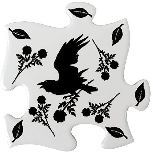 Alchemy of England Black Raven & Rose Coaster Set White/Black