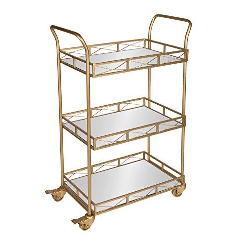 Kate and Laurel Ketia 3-Shelf Metal and Mirror Tray Bar, Kitchen, Multi-Purpose Cart, - Bar Gold Cart Metal