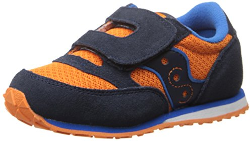 Saucony Jazz Hook & Loop Sneaker (Toddler/Little Kid), Orange/Navy/Blue, 5.5 M US Toddler by Saucony