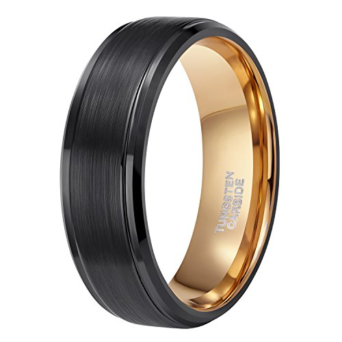 - Shuremaster 8mm Tungsten Wedding Ring Band for Men Women Two Tone Black and Rose Gold Brushed Comfort Fit Size 7