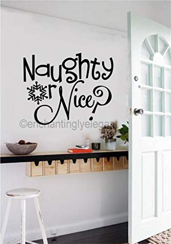 A Design World Naughty Or Nice? Christmas Decor Vinyl Decal Wall Sticker Words Lettering Art