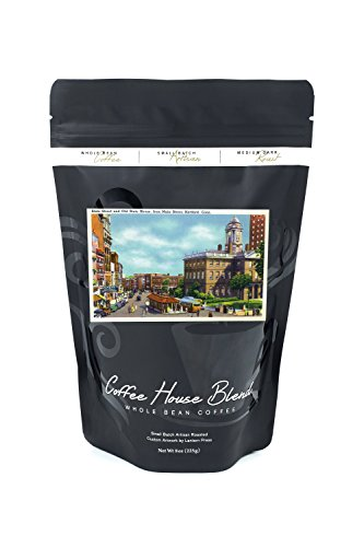 Street House Old (Hartford, Connecticut - Main Street View of State Street and Old State House (8oz Whole Bean Small Batch Artisan Coffee - Bold & Strong Medium Dark Roast w/Artwork))