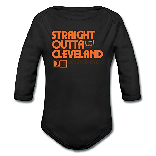 ATHLETE ORIGINALS Baby Boys' Long Sleeve One Piece Straight Outta Cleveland Go Browns by Jessica Eye 18 Months Black