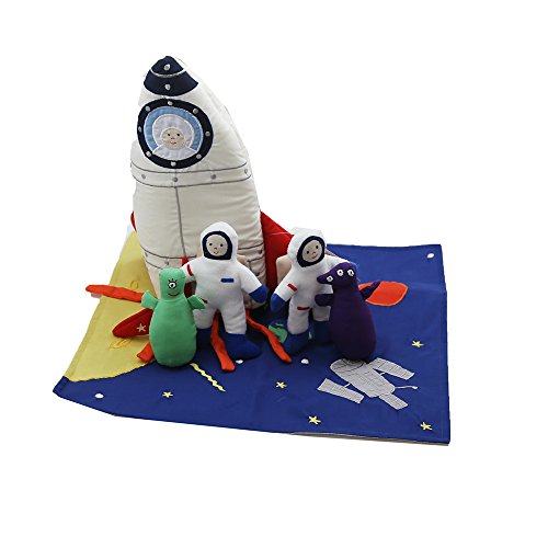 Oskar & Ellen 7 Piece Hand Sewn Fair Trade Soft Space Ship Fabric Playset Toy