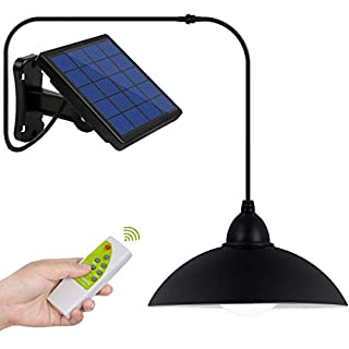Solar Lights Outdoor, LOZAYI IP65 Waterproof Solar Light,Remote Control 16.4Ft Cord LED Shed Light Pendant Light with Adjustable Solar Panel for Garden Patio Home Decorate-Cool White
