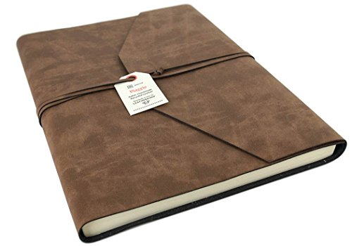 Viaggio Extra Large Tan Recycled Leather Wrap Journal, Lined pages (30cm x 24cm x 2cm)