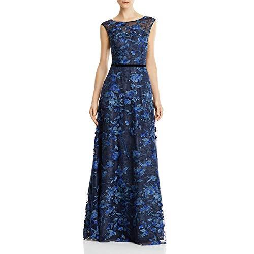 Aidan Mattox Womens Embroidered Illusion Formal Dress Navy 4