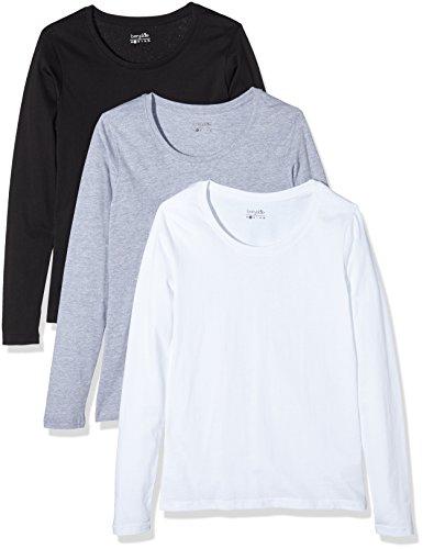 Berydale Damen Langarmshirt mit Rundhalsausschnitt, 3er Pack, Schwarz/Weiß/Grau, M