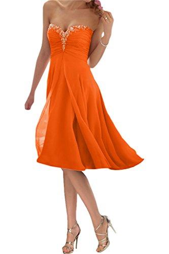 Promgirl House Damen Glamour Traegerlos A-Linie Chiffon Abendkleider Cocktail Ballkleider Kurz-42 Orange Kurz