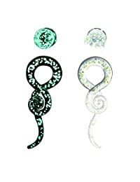 IPINK-Glass Spiral Tapers Kit with Plugs 4 Pieces Glow in The Dark Glass Plugs 4G-14mm