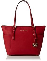 Michael Kors Women's Jet Set East West Top-Zip Leather Shoulder Bag Tote - Bright Red