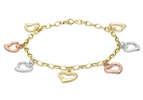 """9ct or 3couleurs Coeur Ouvert Charme Bracelet maille jaseron-18cm/7"""""""