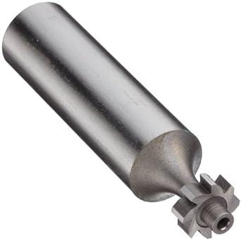"Niagara Cutter N11550 Straight Tooth Shank Type Keyseat Cutter, High Speed Steel, Uncoated (Bright), Round Shank, 3/8"" Cutter Diameter, 8 Tooth, 1/8"" Width"