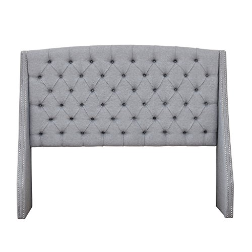 - Madison Park MP116-0367 Harper Upholstered Nail Head Trim Wingback Button Tufted Headboard Modern Contemporary Metal Legs Padded Bedroom Décor Accent, Queen, Grey