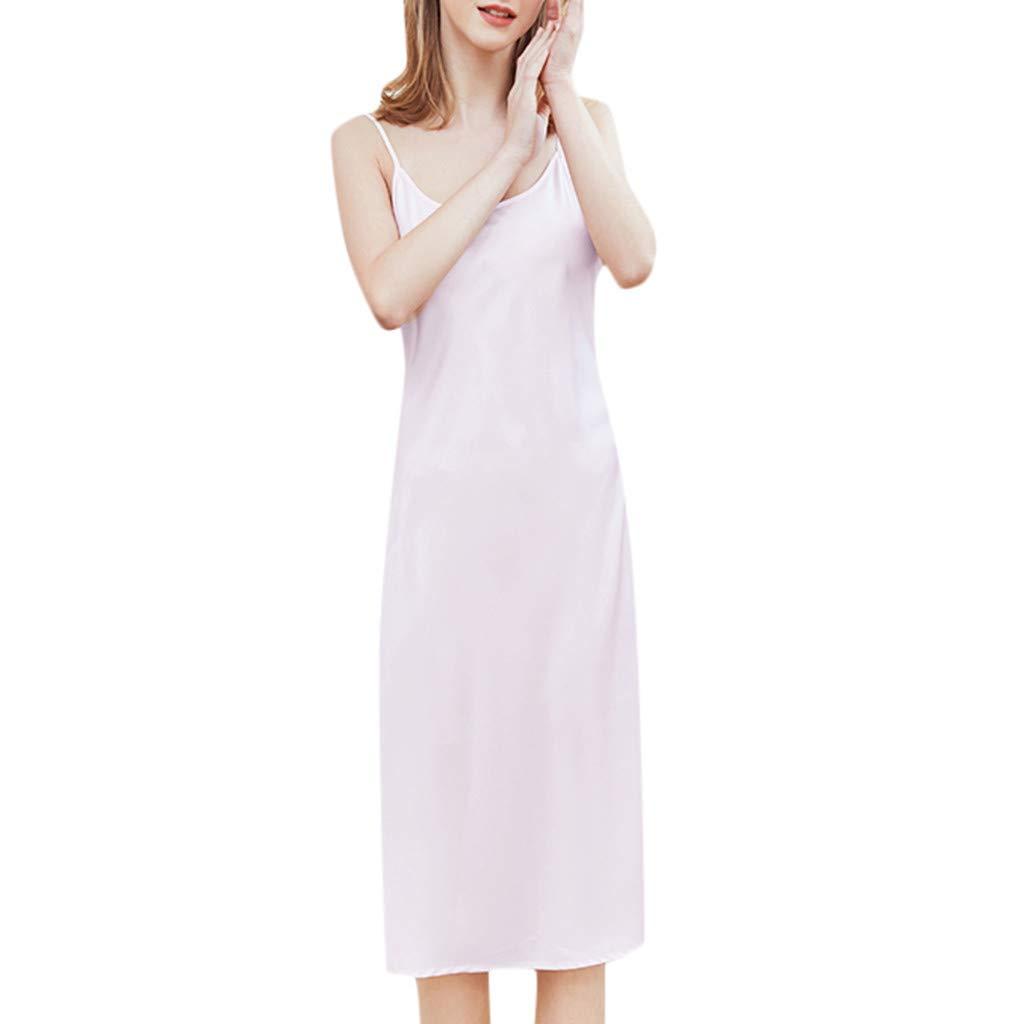 Women's Sexy Lingerie Lace Sleepwear Sling Long Nightdress Underwear Pink