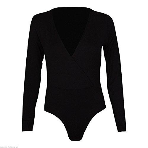 Fashion 4weniger Damen Wrap über lange Ärmel Plunge V Hals Stretch Body Gymnastikanzug Top. UK 8�?2