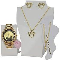 Relógio Feminino Orizom Minnie Dourado + Colar, Brinco E Tornozeleira