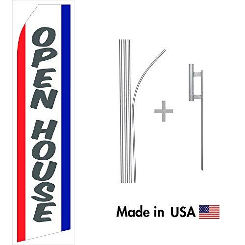 Open House Econo Flag | 16ft Aluminum Advertising Swooper Flag Kit with (Flag Banner Sign)