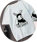 Rabbit Printed Loose Soft Feeling T Shirt Women Shirts Short Sleeve Summer T-Shirt Tops Casual Pink Tshirt,A0629-tianlan,XXXL