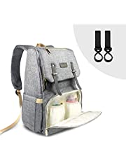 Baby Diaper Backback - CUSFLYX Changing Bag Nappy Bag Large Capacity Waterproof Multi-Functional Casual Travel Backpack with 2 Insulated Bags and 2 Stroller Strap Hook (Grey)