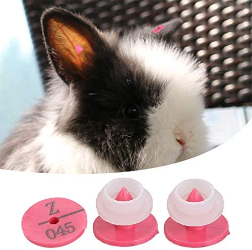 Rose Red 100Pcs//Set Plastic Animal Ear Tags with Numbers Livestock Ear Marker Label for Rabbit Fox Dog