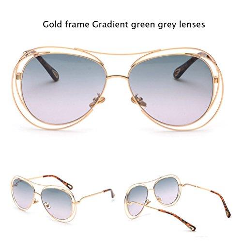 altura marco amp;HA 62 tamaño metal lentes mm de de Silver Bluepink de Gafas y transparentes amp;Green arcoíris Z gradiente Gold gran de blancas planas huecas de sol redondas URd1wWR7qH